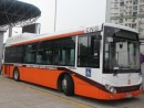 2012年からマカオ導入されている圧縮天然ガス(CNG)バス(資料)=2012年10月(写真:マカオ政府交通事務局)