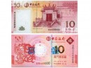 (上)2008年8月8日発行と縁起が良い数字が並ぶ中国銀行の通常10パタカ紙幣 (下)中国銀行版の龍年記念紙幣 (中國銀行澳門分行ホームページより)