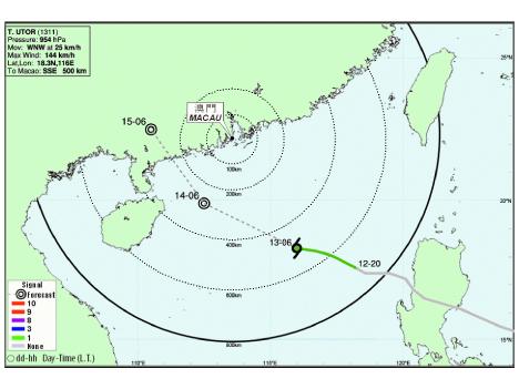 台風「ウトア」がマカオに接近