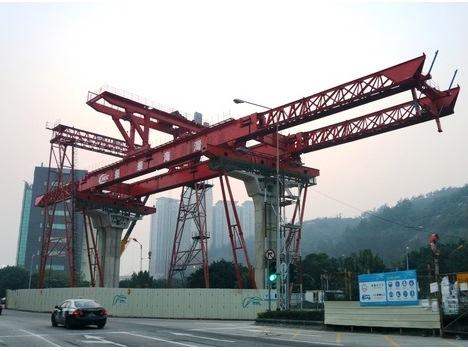 マカオLRT高架部の架橋工程スタート
