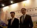 ギャラクシーエンタテインメントグループの呂志和会長(左)と呂耀東副会長(右)父子―本紙撮影