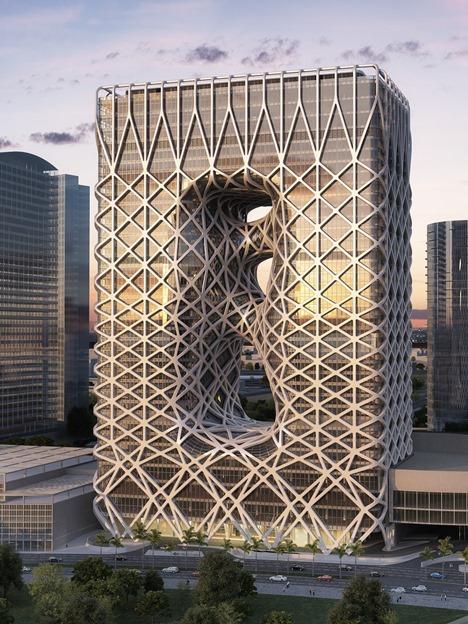 ザハ・ハディド氏がデザインを手がけたマカオのIR、シティ・オブ・ドリームズ マカオの新ホテル棟完成予想イメージ(写真:Melco Crown Entertainment Limited)