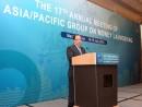 開幕式典でスピーチを行うマカオ政府経済財政司フランシス・タム司長(写真:新聞局)