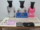 ピンクチラシ配布と売春管理の疑いで逮捕された容疑者と証拠品(写真:治安警察局)