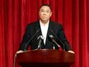 9月21日、北京へ出発前の記者会見に臨む崔世安行政長官(写真:新聞局)