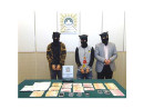 カジノ広報部員を恐喝した疑いで逮捕、起訴された中国・貴州省出身の3人の男(写真:司法警察局)