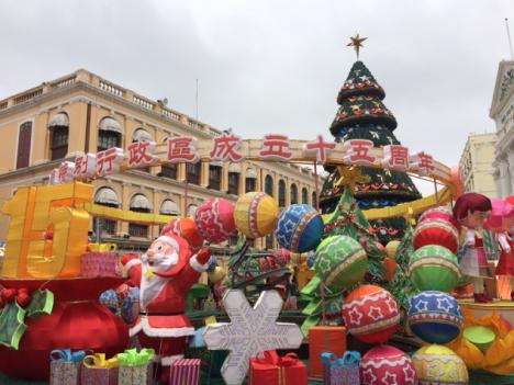マカオでクリスマスイルミ点灯スタート=返還15周年で予算1割増