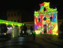 マカオ・コロアン島の聖フランシスコ・ザビエル教会の壁面を使った3Dプロジェクションマッピングの上演(写真:MGTO)