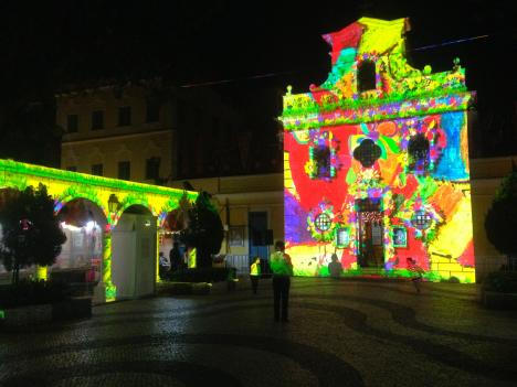 マカオの過去、現在、未来をテーマにした3Dプロジェクションマッピング=返還15周年イベント、12月末まで開催