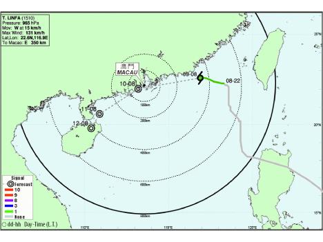 台風10号、香港・マカオ直撃か=9日夜から10日未明に最接近の見通し