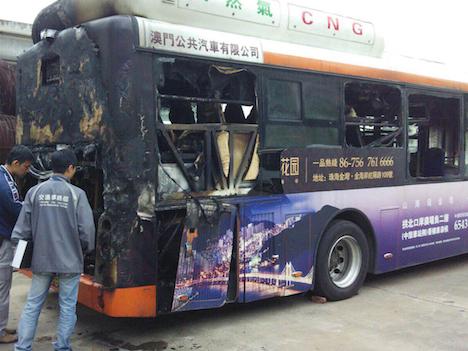 マカオの路線バスで火災事故、圧縮天然ガス車=回送中で負傷者なし、中国メーカー製