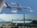 豪カンタス航空と香港キャセイパシフィック航空(資料)—本紙撮影