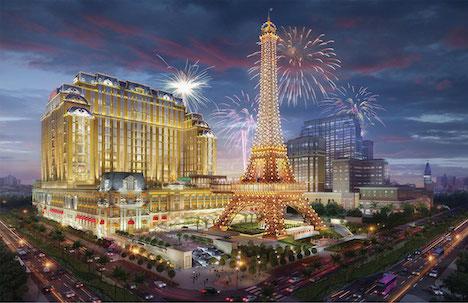 マカオに光り輝くエッフェル塔…新カジノIR「パリジャン」年末オープンへ=米サンズ系、総工費3千億円