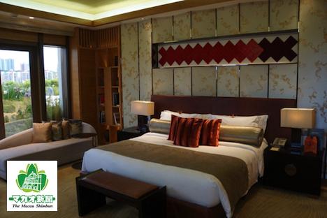 マカオ唯一の日系ホテルとなるホテルオークラマカオのインペリアルスイートのベッドルーム-本紙撮影