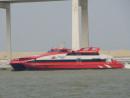 マカオ・外港フェリーターミナル沖を航行中のターボジェットの高速船Universal MK 2013号(資料)=2016年4月-本紙撮影