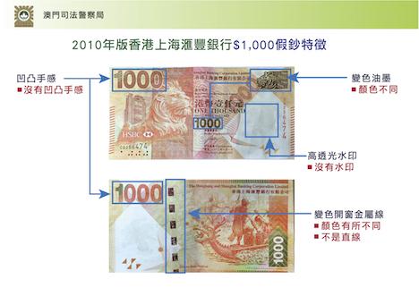 マカオのカジノ施設で新たに5枚の偽札見つかる…HSBC版1千香港ドル紙幣に酷似=計25枚すべて同一番号