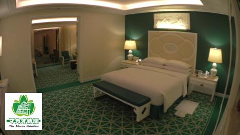 ファウンテン・スイートの例。客室にはイエロー、ブルー、レッドのテーマカラーが用意されているという-本紙撮影