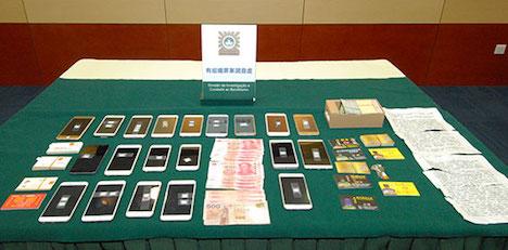 警察が押収した証拠品=3月17日(写真:マカオ司法警察局)
