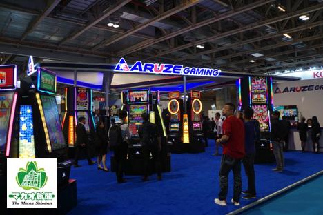 アジアゲーミングアワード2017と同時開催されたG2Eアジア2017会場内のアルゼゲーミングブース=2017年5月17日、ヴェネチアンマカオ・コタイエキスポホール-本紙撮影