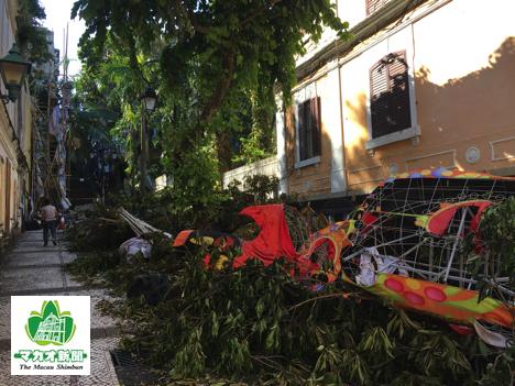 南欧風の美しい街並みが残る観光名所「ラザロ地区」では現在も倒木やがれきの撤去が進んでいない=2017年8月26日-本紙撮影