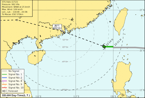 台風13号が23日朝に香港・マカオへ接近=現地日本総領事館が在留邦人に注意喚起