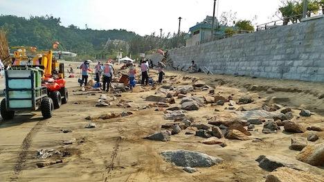 マカオ・コロアン島のハクサビーチで砂の流出確認…利用者に注意呼びかけ