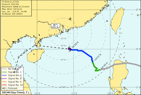 台風20号が10月15日に香港・マカオへ接近…現地日本総領事館が在留邦人に注意喚起