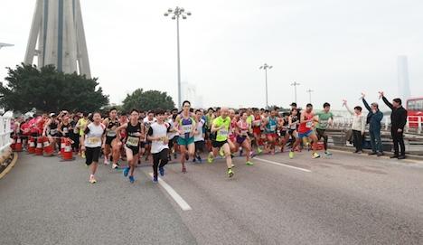 春節恒例スポーツイベント「歩歩高陞マカオタワー長距離走」開催=約600人が参加