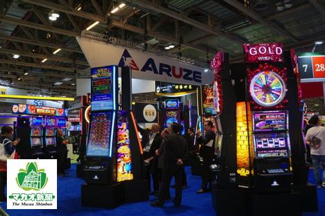 「G2Eアジア2018」エキジビション会場では日本関連企業の展示も目立った(資料)=2018年5月16日、マカオ-本紙撮影