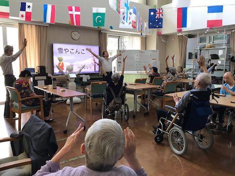 視察先のひとつ、感情認識ヒューマノイドロボット「Pepper」を導入した東京都内の特別養護老人ホーム(写真:IAS)