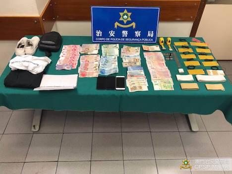 教会の献金箱から盗まれたとみられる現金及び犯行に使われたとみられる工具など(写真:マカオ治安警察局)