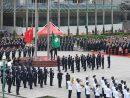 マカオ返還19周年記念日の午前に開催された国旗・区旗掲揚式=2018年12月20日、金蓮花広場(写真:GCS)