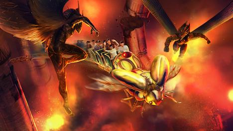 『キング・オブ・エジプト』の世界をベースにしたアトラクション「Battle for Eternity」のイメージ。世界初のVR技術を採用したジェットコースターとのこと(写真:Lionsgate Entertainment World)