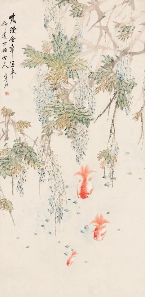 展示作品のひとつ、海上派四傑に数えられる虛谷の作品『紫藤金魚』(写真:ICM)