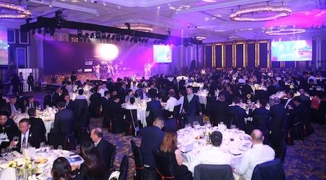 「G2Eアジアアワード2018」表彰式ディナーレセプション会場の様子=2018年5月15日、MGMコタイ(写真:G2E Asia Awards)