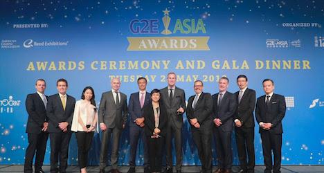 「G2Eアジアアワード2019」表彰式の様子=2019年5月21日、ザ・パリジャン・マカオ(写真:G2E ASIA AWARDS/O MEDIA)