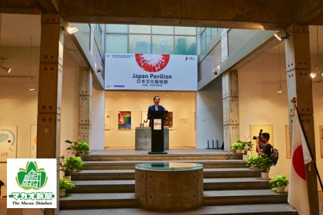アートマカオ「日本パビリオン」オープニングセレモニーでスピーチする在香港日本国領事館の和田充広大使兼総領事=2019年6月18日、マカオ・塔石ギャラリーにて本紙撮影