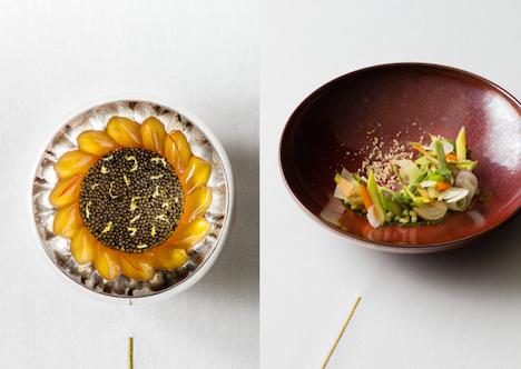 「アラン・デュカス・アット・モーフィアス」開業1周年記念コース料理「ル・プルミエ」のメニュの一例(写真:Melco Resorts & Entertainment Limited)