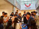 京都・美好園による宇治茶ワークショップで美味しい煎茶の淹れ方を実演する様子=2019年8月9日、マカオ・塔石ギャラリーにて本紙撮影