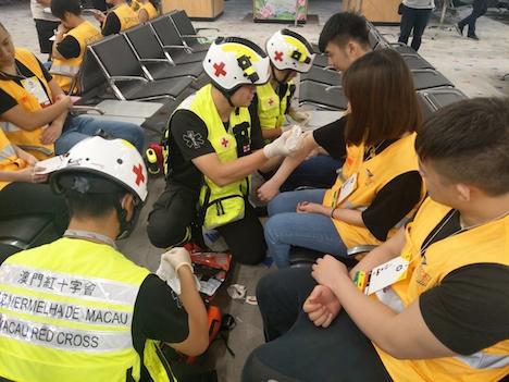 マカオ国際空港で実施された緊急事態を想定した大規模訓練の様子=2019年9月12日(写真:マカオ政府民航局)