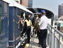 コタイ地区にあるマカオLRTタイパ線の東亞運駅で実施された消防訓練の様子=2019年10月17日(写真:マカオ消防局)