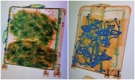 X線検査機のモニタに映し出された旅客の手荷物の画像(写真:澳門海關)