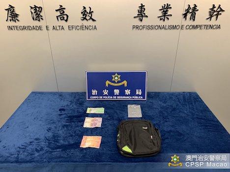 警察が公表したシャトルバス内窃盗事案の証拠品(写真:マカオ治安警察局)