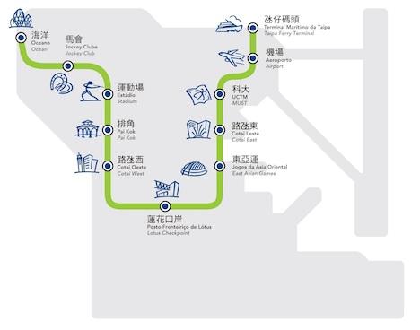マカオLRT路線図(図版:Macau Light Rapid Transit Corporation, Limited)